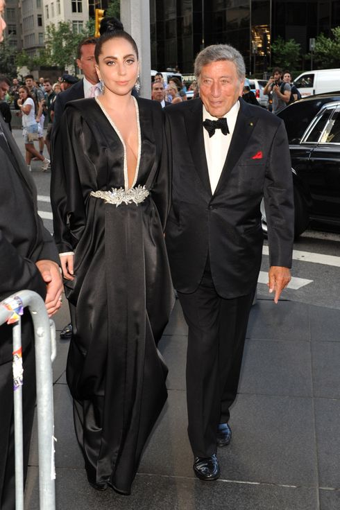 "NEW YORK, NY - JULY 28:  Tony Bennett and Lady Gaga arrive to their ""Cheek To Cheek"" taping at Jazz at Lincoln Center on July 28, 2014 in New York City.  (Photo by Kevin Mazur/Getty Images)"