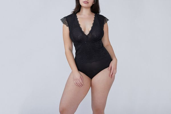 Lace Cap-Sleeve Bodysuit