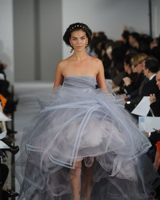 Arizona Muse closing Oscar de la Renta's fall 2012 collection.