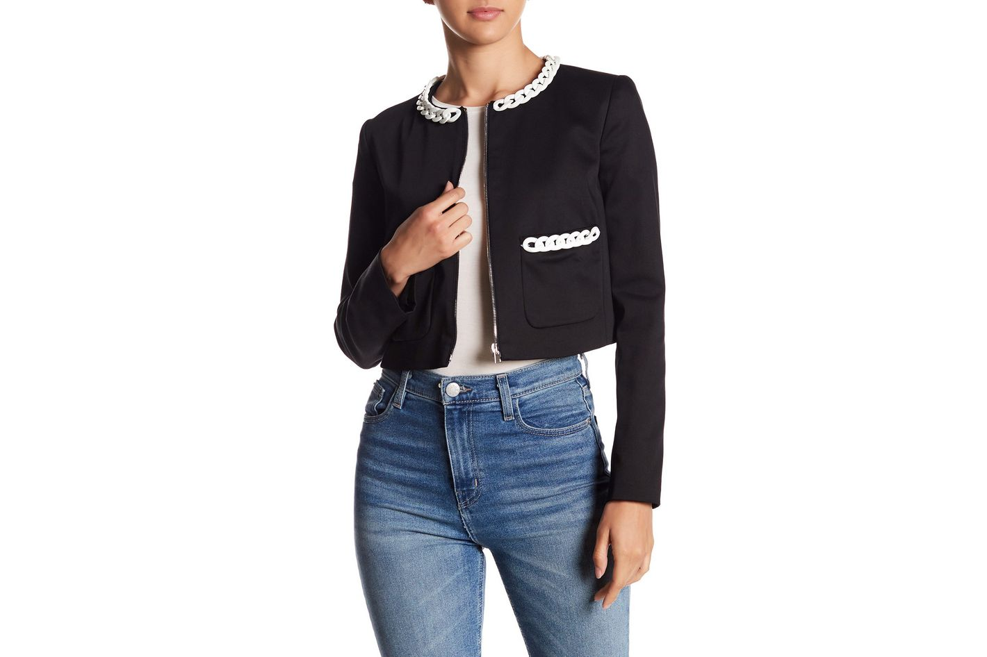 LOVE Moschino Cropped Chain Trim Jacket