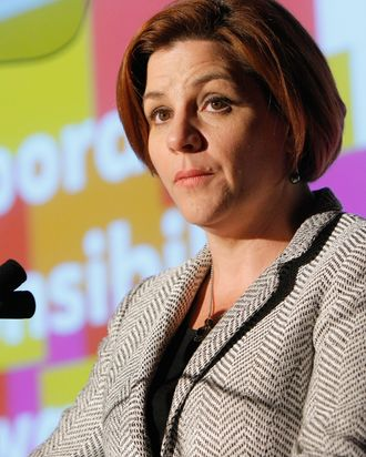 NEW YORK, NY - OCTOBER 04: New York City Council Speaker Christine C. Quinn speaks during the 2011 GLAAD Amplifier Awards at the Altman Building on October 4, 2011 in New York City. (Photo by Jemal Countess/Getty Images)