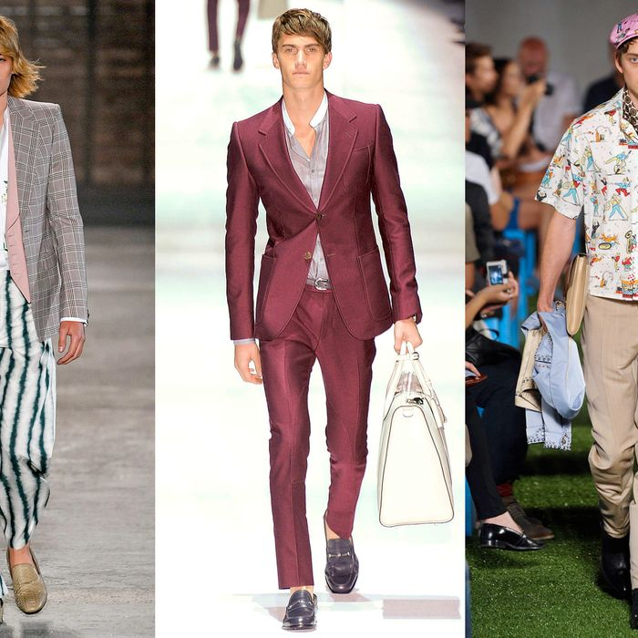 From left: new menswear looks from Alexander McQueen, Gucci, and Prada.