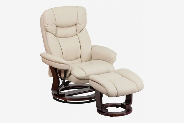 Flash Furniture Contemporary Beige Leather Recliner and Ottoman with Swiveling Base