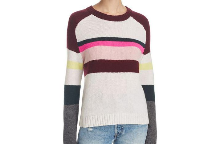 Cashmere Color-Block Stripe Sweater