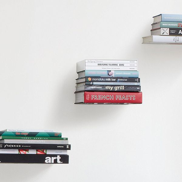 Umbra Conceal Floating Bookshelf, Small, Silver, Set of 3
