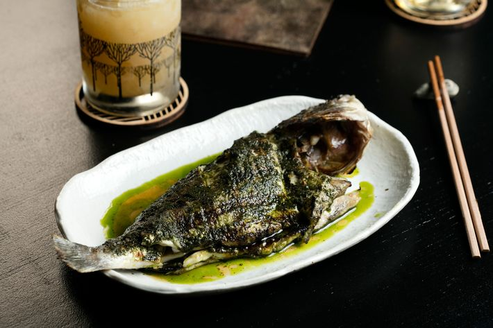 Whole dorade with shiso pesto.