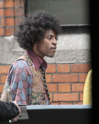 Andre 3000 on film set in Dublin, Ireland. Andre is seen walking with his arm around co-star, Hayley Atwell on the Jimi Hendrix movie,