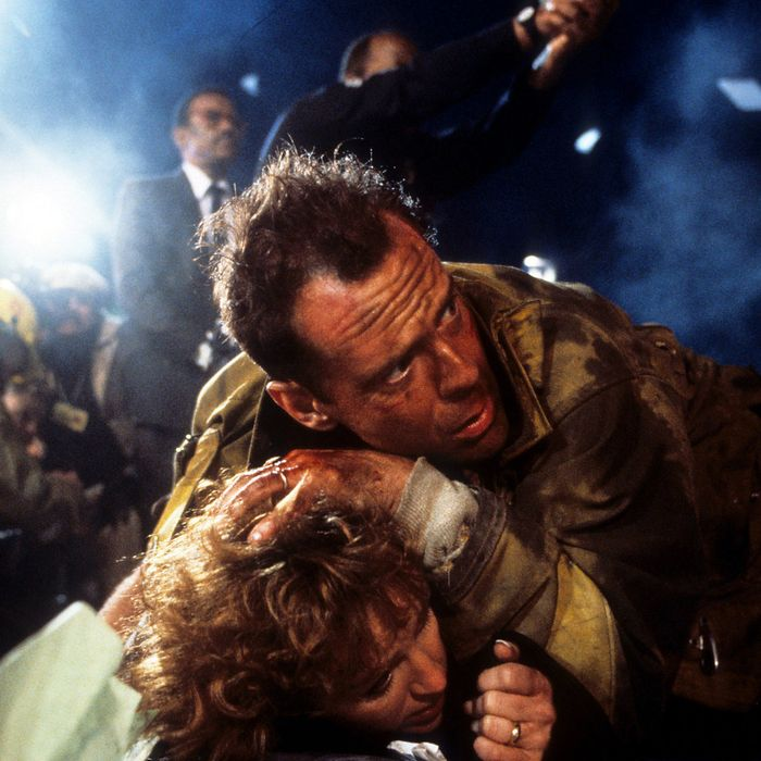 Bruce Willis and Bonnie Bedelia in <em>Die Hard</em>
