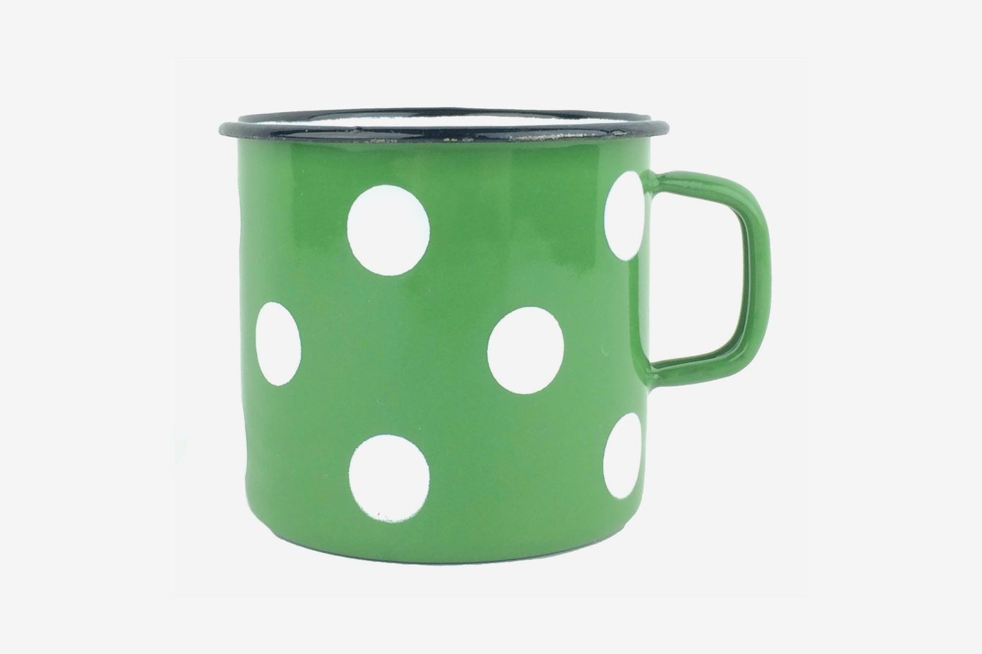 Green White Polka Dotted Vintage Enamelware