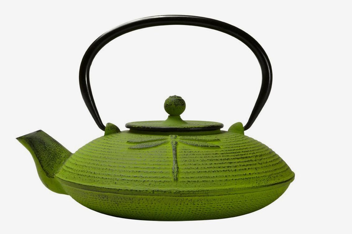 Primula Cast-Iron Teapot Green Dragonfly Design