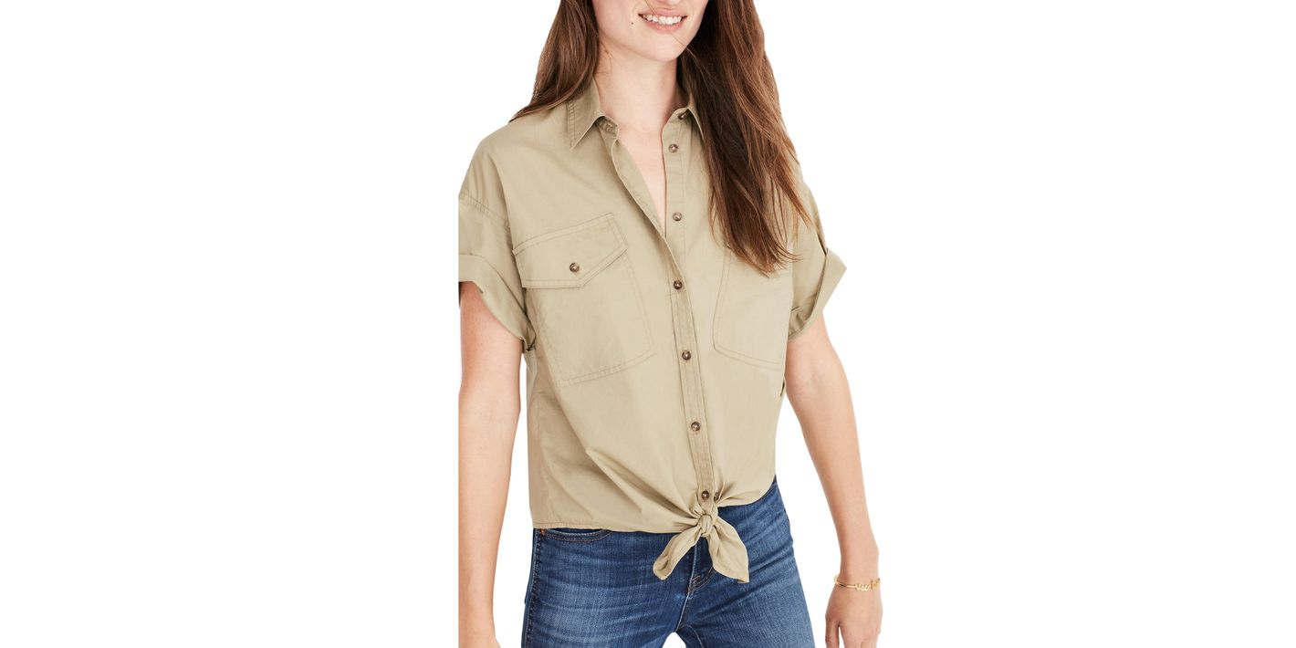 Madewell Tie-Front Embroidered Safari Shirt