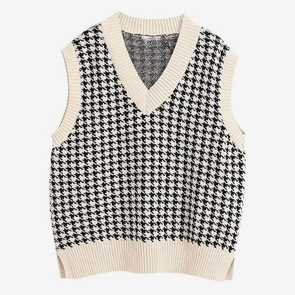 Women Oversized Houndstooth Sweater Vest