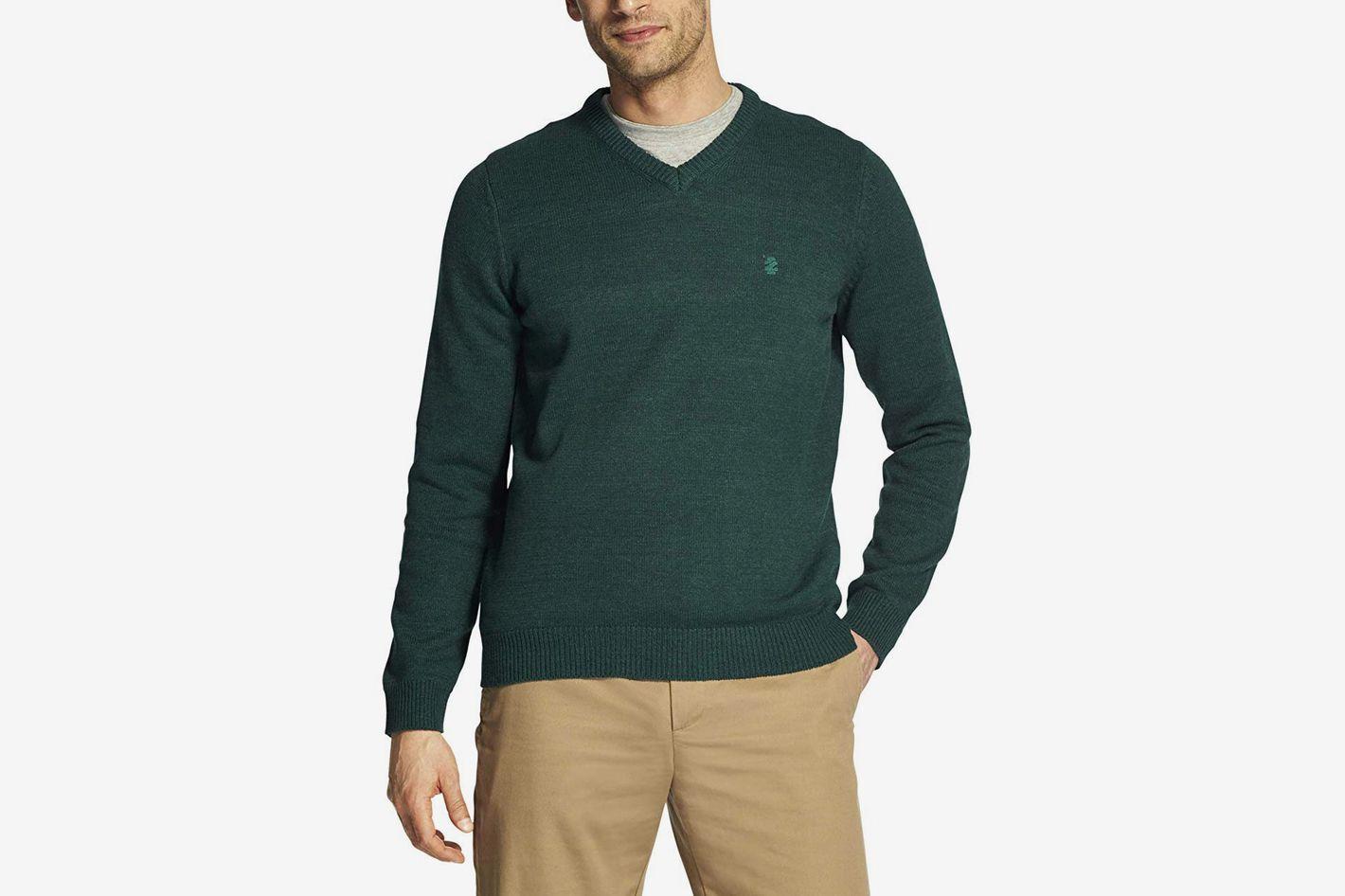 IZOD Men's Premium Essentials Fine Gauge Solid V-Neck Sweater