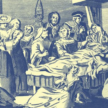 Circa 1750, The Humours of an Irish Wake' as celebrated at St Giles London. Original Artwork: Engraving by Thornton, Published by Johnson c. 1750.