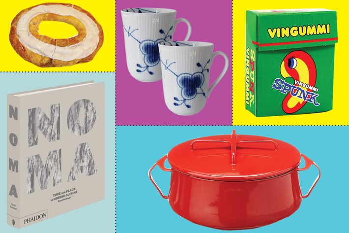 collage of royal copenhagen blue fluted mugs, o & h danish kringle of the month, noma: time and place in nordic cuisine, spunk vingummi, dansk kopenstyle casserole - strategist best home decor and best danish decor