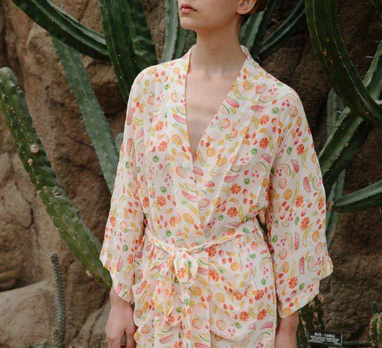 Family Affairs Frangipani Fruit Print Kimono