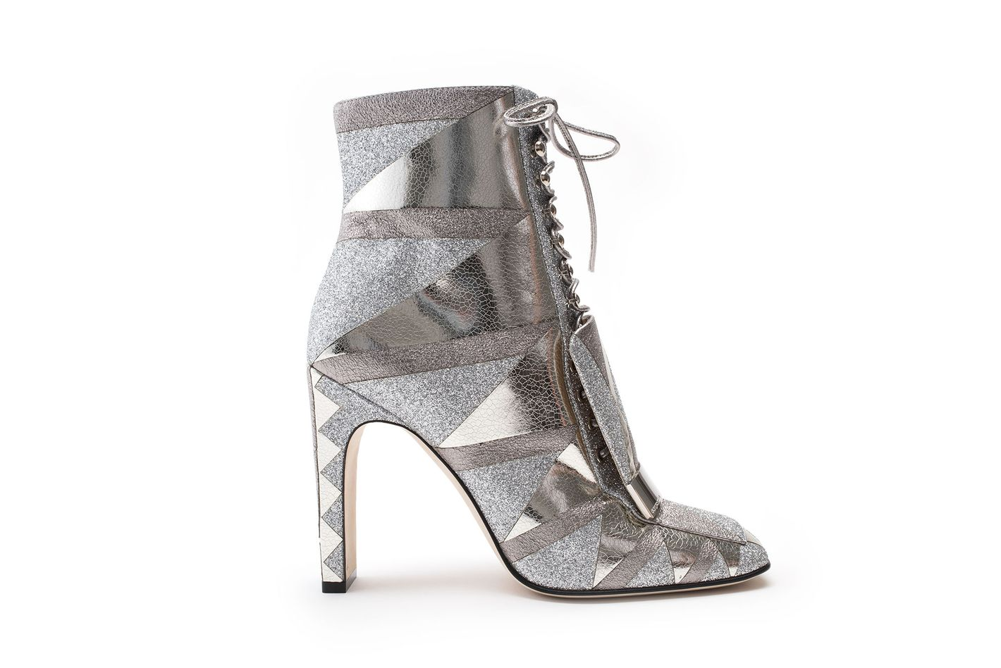 Squared Toe Low Boot in Silver Crackled Lamé Leather