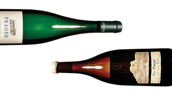 Prager's 2001 Achleiten Smaragd Riesling Momofuku Ssäm Bar (left); Marea's 2009 'En Barby' Savagnin bottle from Jean-François Ganevat