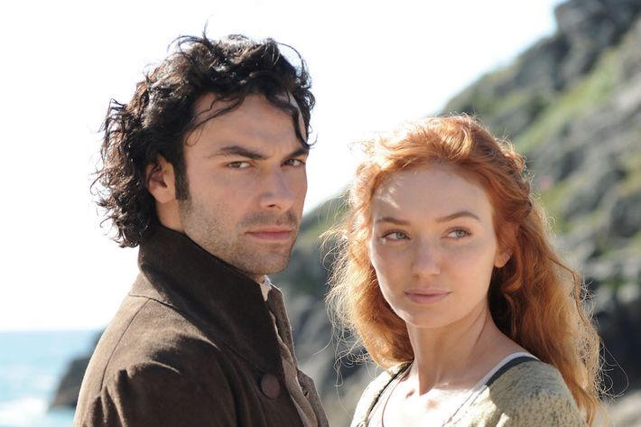 Aidan Turner as Ross Poldark, Eleanor Tomlinson as Demelza.