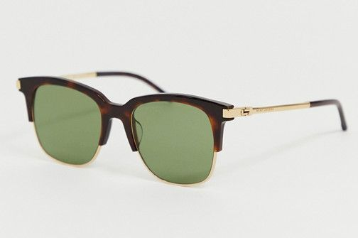 Marc Jacobs Square Sunglasses with Partial Tortoiseshell Frame