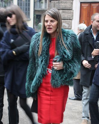 Anna Dello Russo, in her Christmas colors.