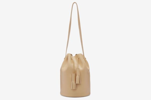 Building Block Beige Tassel Bucket Bag