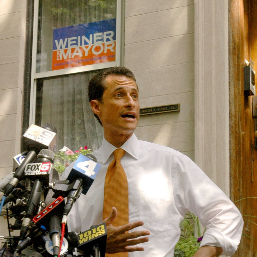 FILE - In this Sept. 2005, file photo Rep. Anthony Weiner, D-N.Y., concedes the New York Democratic mayoral primary to Fernando Ferrer in front of his childhood home in the Park Slope neighborhood of Brooklyn, New York. Weiner has said mayor of New York it's the only job he wants more than serving in Congress. He's been considered a top candidate in what's expected to be a crowded field. (AP Photo/Graham Morrison, File)