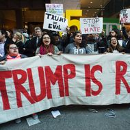 Protesters gather near Grand Central Station to protest against US Republican presidential candidate Donald Trump who was attending a New York GOP Gala April 14, 2016 in New York.