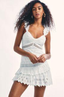 LoveShackFancy Desra Silk Mini Dress