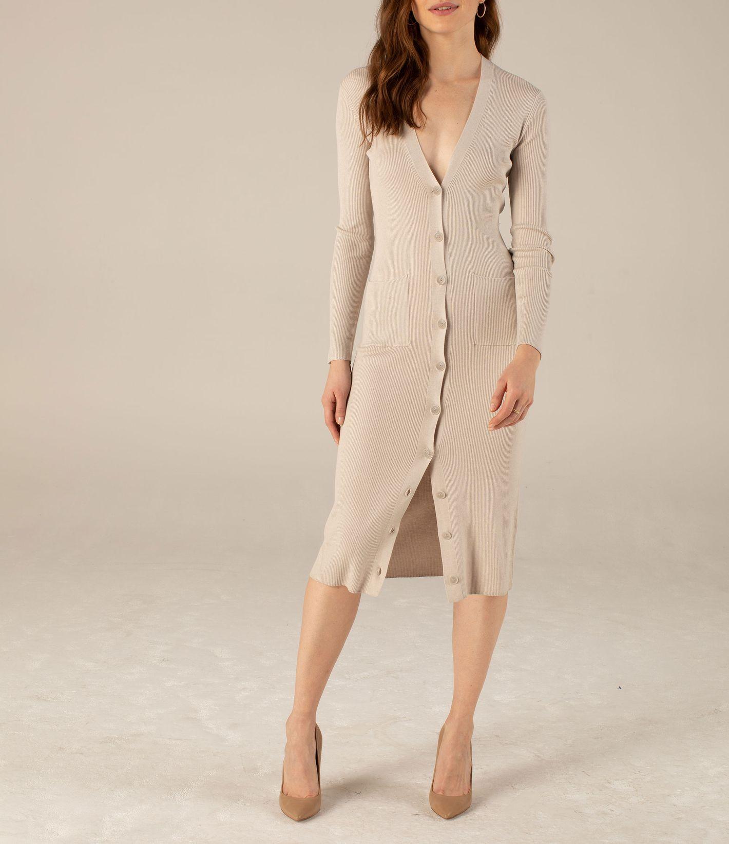 Long Sleeve Cardigan Dress in Pebble