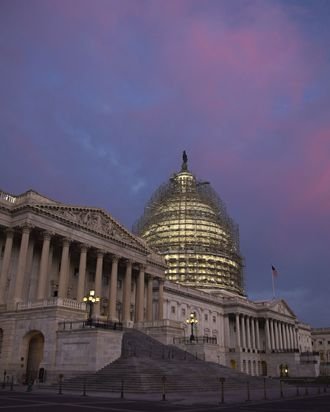 Views Of The U.S. Capitol Building As Congress Looks For Agreement On Long-Term Spending Bill