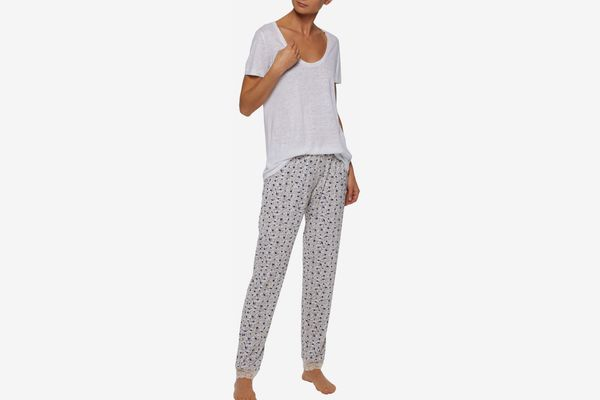 Eberjey Lace-Trimmed Printed Stretch Modal Pajama Pants