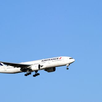 A plane of French company Air France takes off Paris Roissy airport on January 15, 2012.