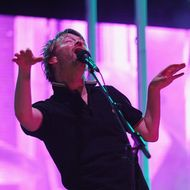 JERSEY CITY, NJ - AUGUST 09:  Musician Thom Yorke of Radiohead performs onstage during the 2008 All Points West music and arts festival at Liberty State Park on August 9, 2008 in Jersey City, New Jersey.  (Photo by John Shearer/WireImage)
