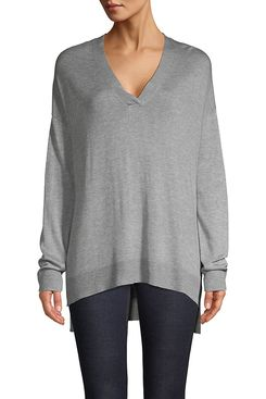 Lord & Taylor V-Neck High-Low Top