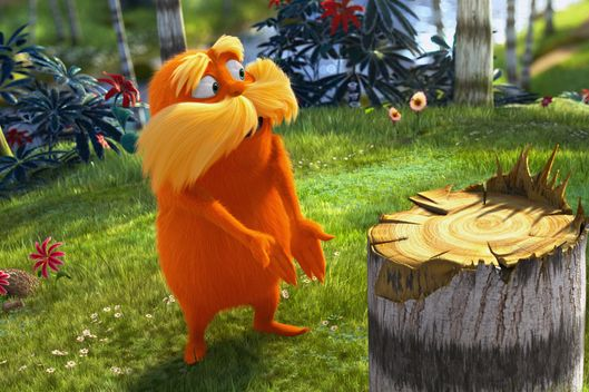 "The Lorax (DANNY DEVITO) demands to know who chopped down the Truffula Tree in ""Dr. Seuss' The Lorax"", a 3D-CG adventure from the creators of ""Despicable Me"" and the imagination of Dr. Seuss."