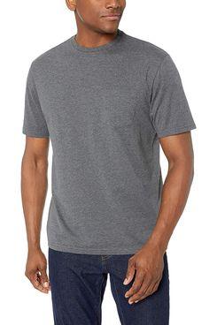 Amazon Essentials Men's 2-Pack Regular-fit Crew Pocket T-Shirt in Charcoal Heather