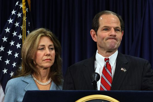 New York Governor Eliot Spitzer holds a news conference in New York City with his wife Silda by his side on March 10 2008 after it was announced that he has been involved in a prostitution ring.