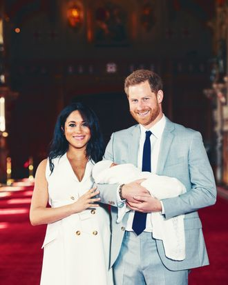 Meghan Markle and Prince Harry with their new son.