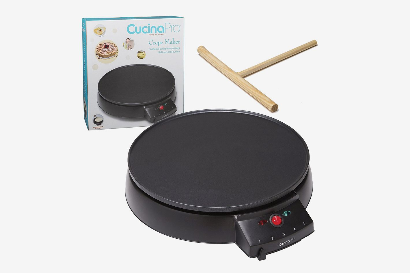 "CucinaPro Crepe Maker and Non-Stick 12"" Griddle- Electric Crepe Pan With Spreader and Recipes Included"