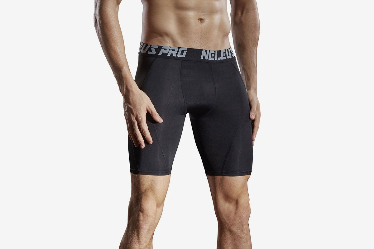 SODIAL Black gray line L New Running Sport Mens Basketball Tight Compression Shorts Gym Fitness Clothing Training Wicking Short Pants Homme Men R