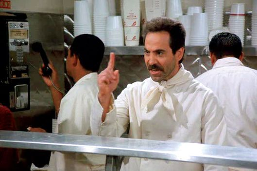 Seinfeld (NBC)  Season 7, 1995-1996Episode: The Soup Nazi  Original Air Date: November 2, 1995Shown: Larry Thomas (as Soup Nazi)