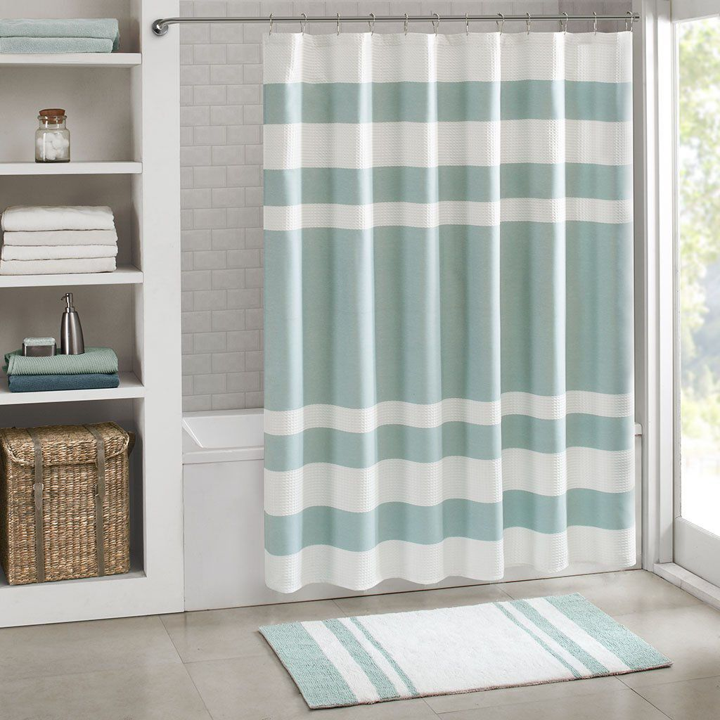 JLA Home Inc. Spa Waffle Weave Striped Fabric Shower Curtain