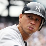 Alex Rodriguez #13 of the New York Yankees looks on against the New York Mets at Citi Field on July 3, 2011 in the Flushing neighborhood of the Queens borough of New York City.