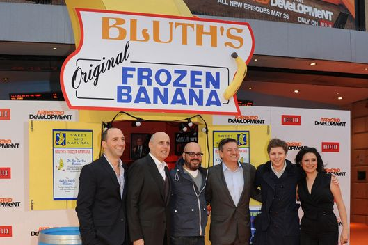 Tony Hale, Jeffrey Tambor, David Cross, Ted Sarandos, Michael Cera, Alia Shawkat attend the red carpet premiere for the launch of Netflix Original Series, Arrested Development, Season 4 on May 09, 2013 at Vue Leicester Square in London, England.