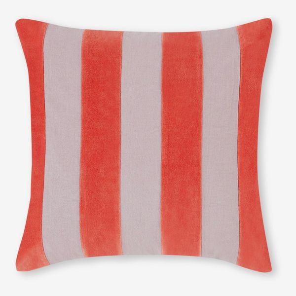 Bowker Stripe Velvet Cushion, 50 x 50cm, Vermillion Red & Cloud Grey