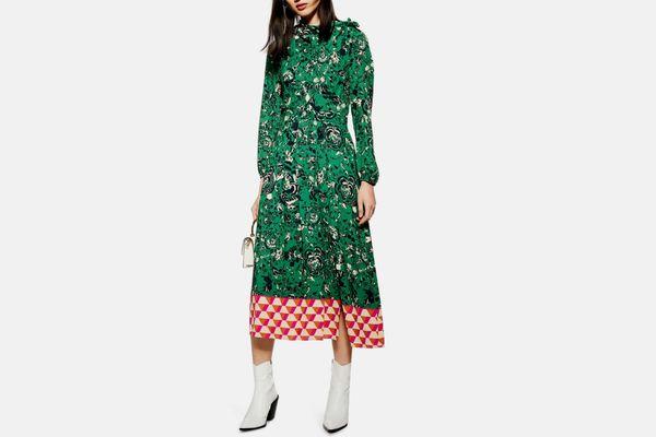 Topshop Geo Border Tie-Neck Midi Dress