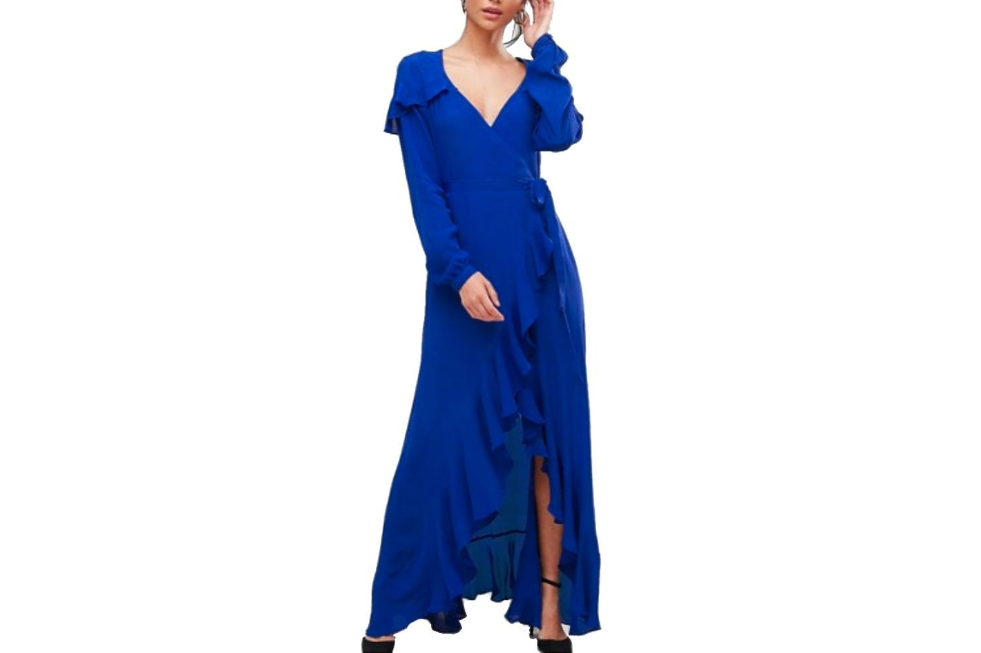ASOS Tall Long Sleeve Wrap Maxi Tea Dress