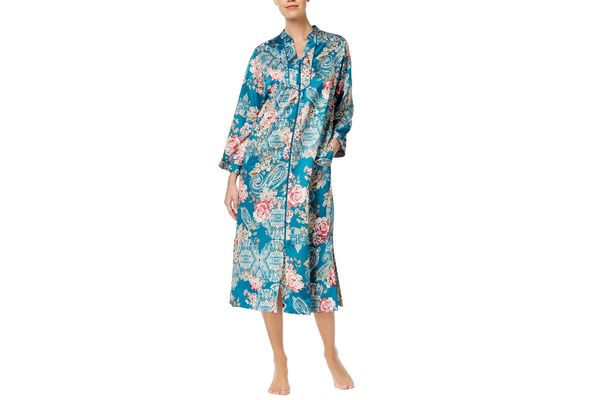 Miss Elaine Printed Brushed Satin Robe