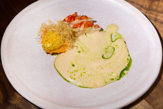 Lobster — sweet potato, tonburi, lobster sauce.